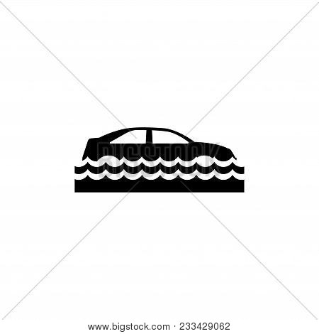 Car Insurance And Flood Risk. Flat Vector Icon. Simple Black Symbol On White Background