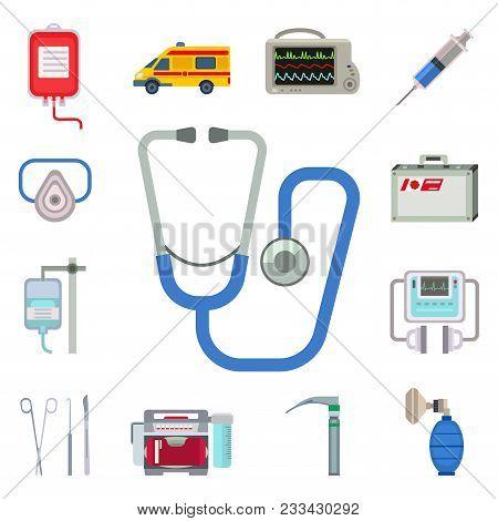 Ambulance icons vector set. Medicine health emergency hospital symbol. Urgent pharmacy pill support paramedic treatment. Paramedic treatment clinic vehicle design. poster