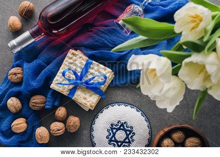 Top View Of Kippah, Matza And Wine, Pesah Celebration Concept