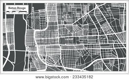Baton Rouge Louisiana USA City Map in Retro Style. Outline Map.