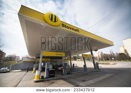 Nitra, Slovakia, March 28, 2018: Slovnaft Gas Station In Nitra, Slovakia. Slovnaft Is Slovakia Leadi