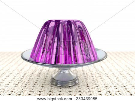 Colored Gelatin In Glass Dish On White Background, 3d Rendering