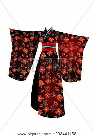 Vector Illustration Japanese Traditional Geisha Costume Kimono With Pattern Of Gold Flowers. A Chara