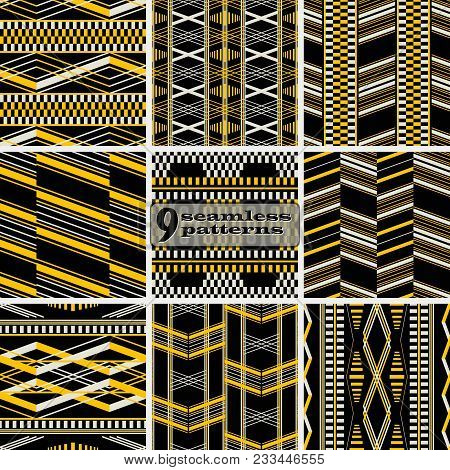 Set Of Seamless Abstract Geometric Patterns. Yellow, Black, Dusty White Colors. Retro Fashion Vector