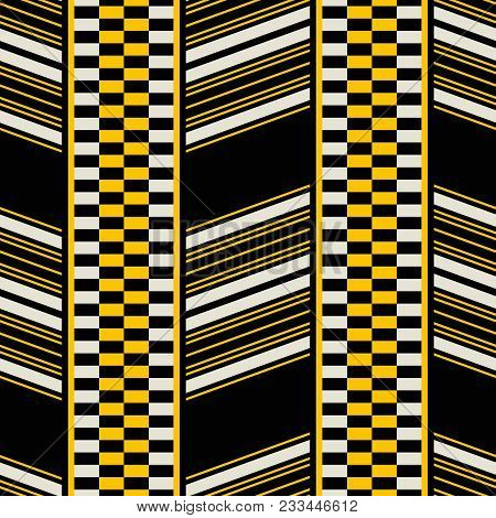 Seamless Geometric Print Of Wide Vertical Patterned Stripes. Yellow, Black, Dusty White Colors. Retr