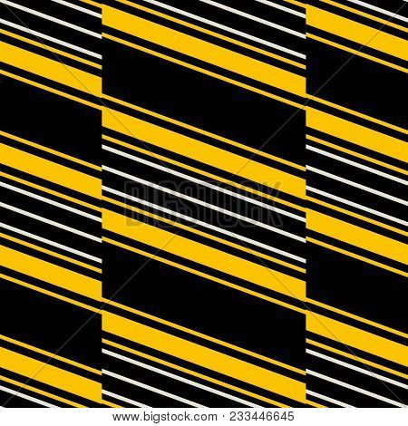 Seamless Geometric Pattern Of Wide Vertical Stripes With Diagonal Lines Inside. Retro Fashion Print