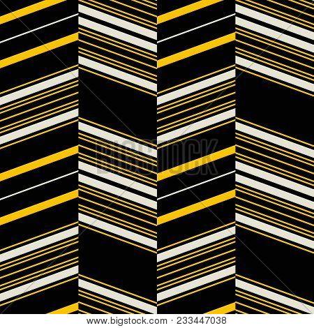 Seamless Geometric Pattern In Yellow, Black, Dusty White Colors. Retro Fashion Textile Print