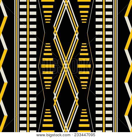 Seamless Geometric Pattern In Black, Yellow, Dusty White Colors. Vertical Stripes, Rhomboid Shapes.