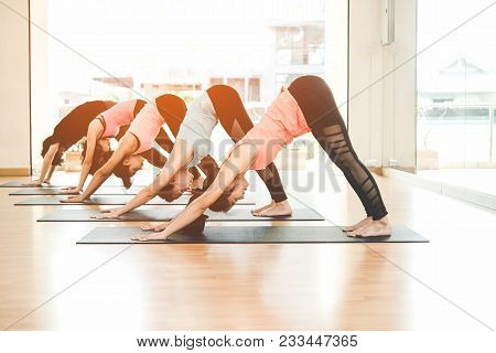 Asian People Lifestyle Practicing And Exercising Vital Meditate Yoga In Class Room. Healthy Concept