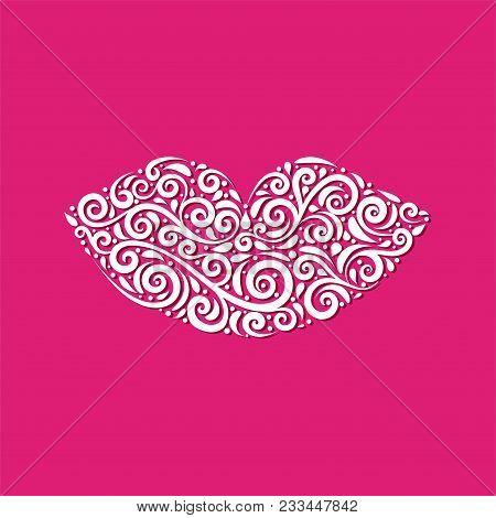 Ornamental Lips Vector Illustration Of Ornamental Stylized Lips. Vector Detailed Illustration. Great