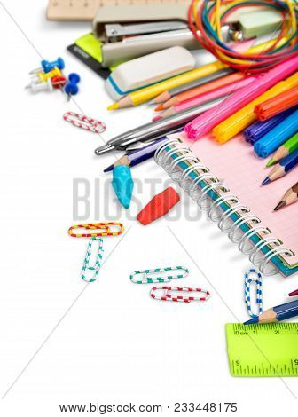 School Notebook Supples Green Color Fun Red