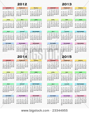 colorful calendar for years 2012 - 2015