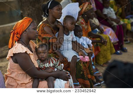 Bissau, Republic Of Guinea-bissau - January 29, 2018: Portrait Of A Young Mother And Her Baby Daught