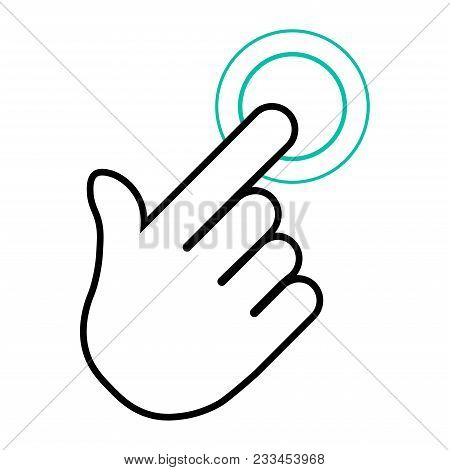Finger Click, Hand Icon. Vector Symbol Isolated On White Background. Flat Object. Click Here. Go For
