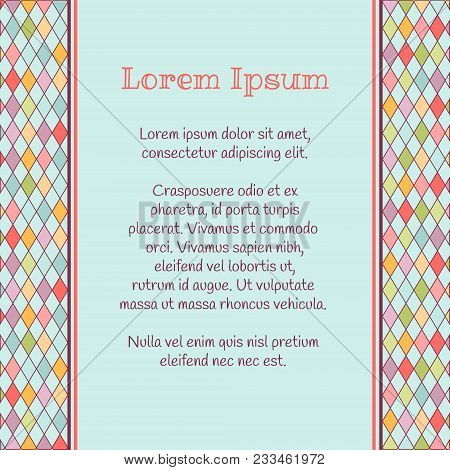 Vector Argyle Background With Place For Text. Card Template For Baby Themed, Birthday Or Any Occasio