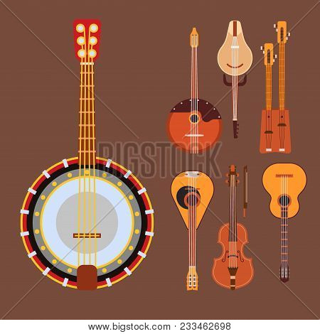 Set Of Stringed Musical Instruments Classical Orchestra Art Sound Tool And Acoustic Symphony Stringe