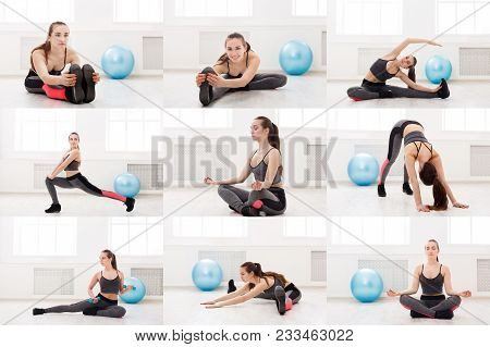 Mosaic Of Different Fitness Exercises. Slim Brunette Woman Doing Workout Stretching At Gym On White