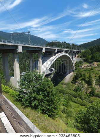 The Viaduct Under The Blue Sky In Italy