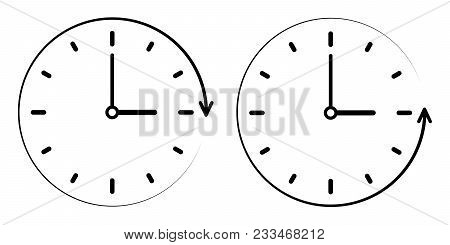 Sign Icon The Passage Of Time Counterclockwise, Vector Clock, Minute And Hour Hands. Concept Of Cloc