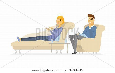 A Woman Seeing A Psychologist - Cartoon People Character Isolated Illustration On White Background.