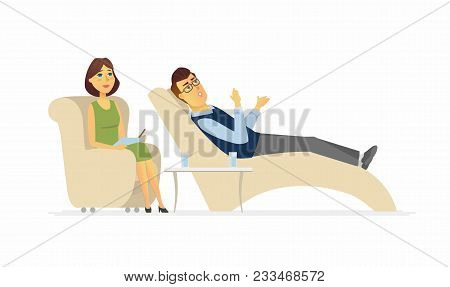 A Man Visiting A Psychologist - Cartoon People Character Isolated Illustration On White Background.