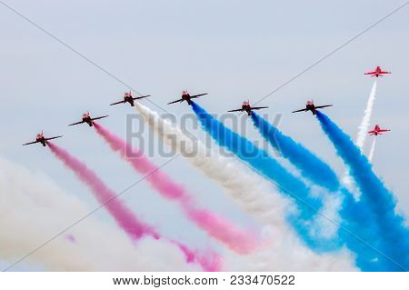 Leeuwarden, The Netherlands - Jun 10, 2016: British Raf Red Arrows Airshow Demonstration Team Perfor