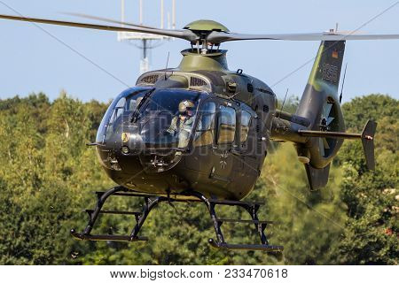 Gilze-rijen, The Netherlands - Sep 7, 2016: German Army Airbus Eurocopter Ec135 Military Helicopter