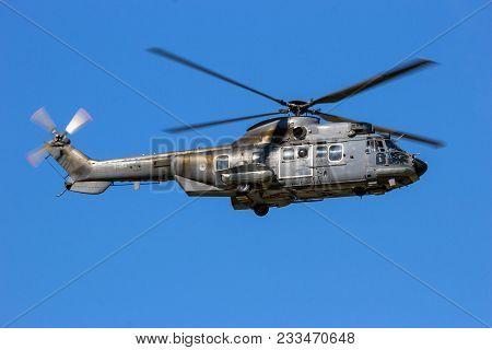 Gilze-rijen, The Netherlands - Sep 7, 2016: Dutch Air Force Eurocopter Cougar Military Transport Hel