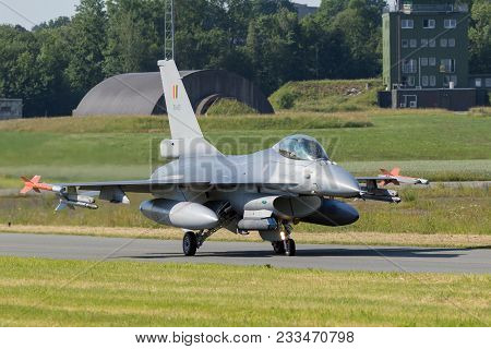 Florennes, Belgium - Jun 15, 2017: Belgian Air Force F-16 Fighter Jet Plane Taxiing To The Runway Of
