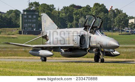 Florennes, Belgium - Jun 15, 2017: Greek Air Force F-4 Phantom Fighter Jet Taxiing Towards The Runwa
