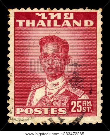 Thailand - Circa 1961: A Stamp Printed In Thailand Shows King Bhumibol Adulyadej, King Of Thailand (