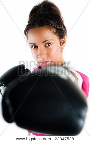 Young beautiful mixed race boxing teenager, punch and jab with expression - isolated on white