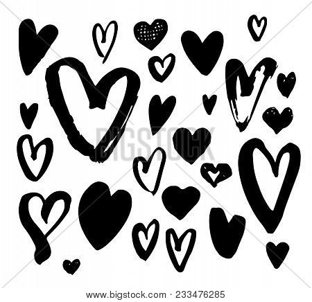 Big Collection Of Hand Drawn Doodle Hearts. Handwriting Different Heart Set. Hand Made Unique Illust