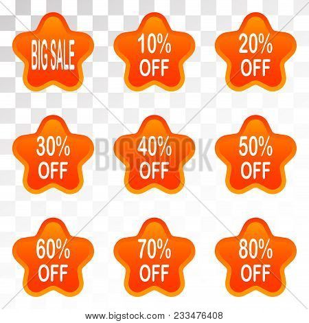Bright Labels. Hot Sale. Discounts. Shopping Season. A Set Of Stickers. Special Offer Vector Ribbon.