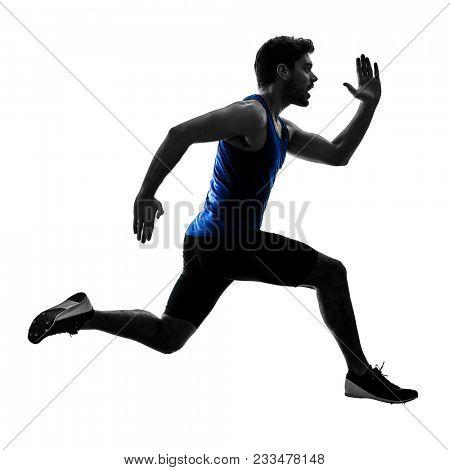 one caucasian runner sprinter running sprinting athletics man silhouette isolated on white background poster