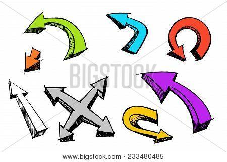 Arrow Cartoon Set Grunge Style Isolated On White Background. Hand Made Brush Ink Grunge сalligraphy