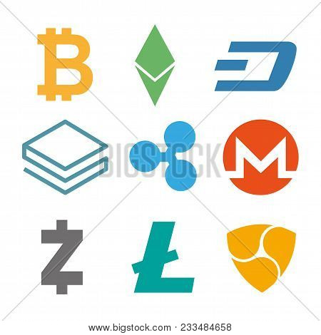 Set Of Cryptocurrency Icons. Simple Design In Different Color. Vector. Cryptocurrency On White Backg