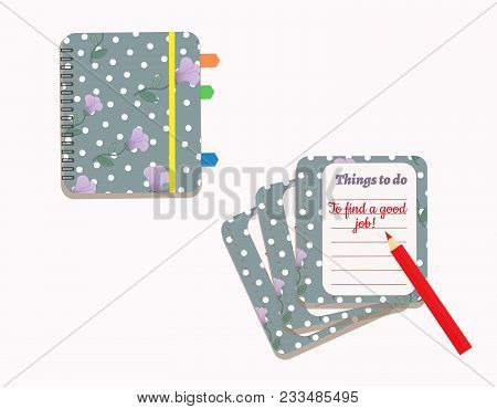 A Day Planner Spiral-bound With The Cute Purple Flowers And Polka Dots. A Pencil.  To Do Lists. Sign