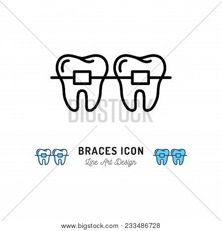Braces Icon, Stomatology Dental Care. Teeth Braces Thin Line Art Icons, Vector Flat Illustration