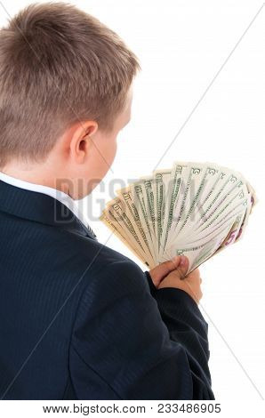 Cheerful Male Student Holding Money Isolated On A White Background. Looking At Camera.
