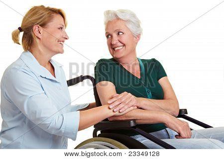 Eldercare For Disabled Senior Woman
