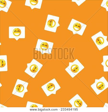 Chat Bubble In Mobile Message And Social Network Seamless Pattern Background. Smile On Chat Bubble O