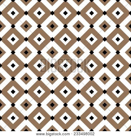 Vintage Diagonal Chequerwise Squares Cross Lines Vector Pattern Or Background. Texture For Tiles