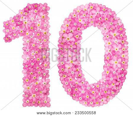 Arabic Numeral 10, Ten, From Pink Forget-me-not Flowers, Isolated On White Background