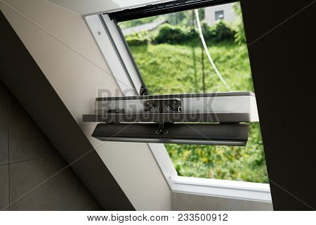 Plastic Mansard Or Skylight Window On Attic With Environmentally Friendly And Energy Efficient Therm