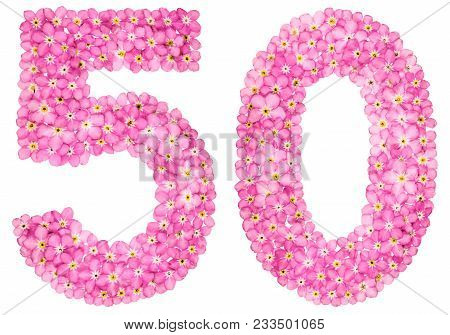 Arabic Numeral 50, Fifty, From Pink Forget-me-not Flowers, Isolated On White Background