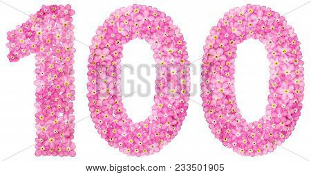 Arabic Numeral 100, One Hundred, From Pink Forget-me-not Flowers, Isolated On White Background