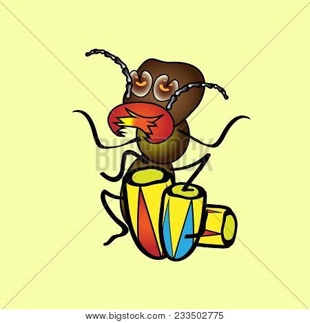 Isolated Illustration Cartoon. A Hungry Termite Who Plays The Drums. Vintage.