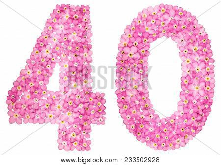 Arabic Numeral 40, Forty, From Pink Forget-me-not Flowers, Isolated On White Background