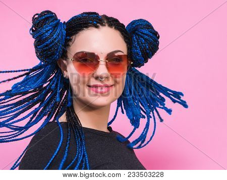 Close-up Of Woman With Blue Pigtails Braided Head African Girl With Blue Braids Hairstyle. Hipster P